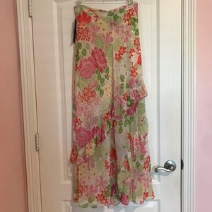 Rafaella colorful floral chiffon maxi skirt